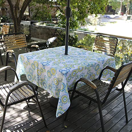 Eforcurtain Square 60Inch Umbrella Outdoor Tablecloth With Zipper Fresh  Polka Dots Floral Table Cover Water Repellent