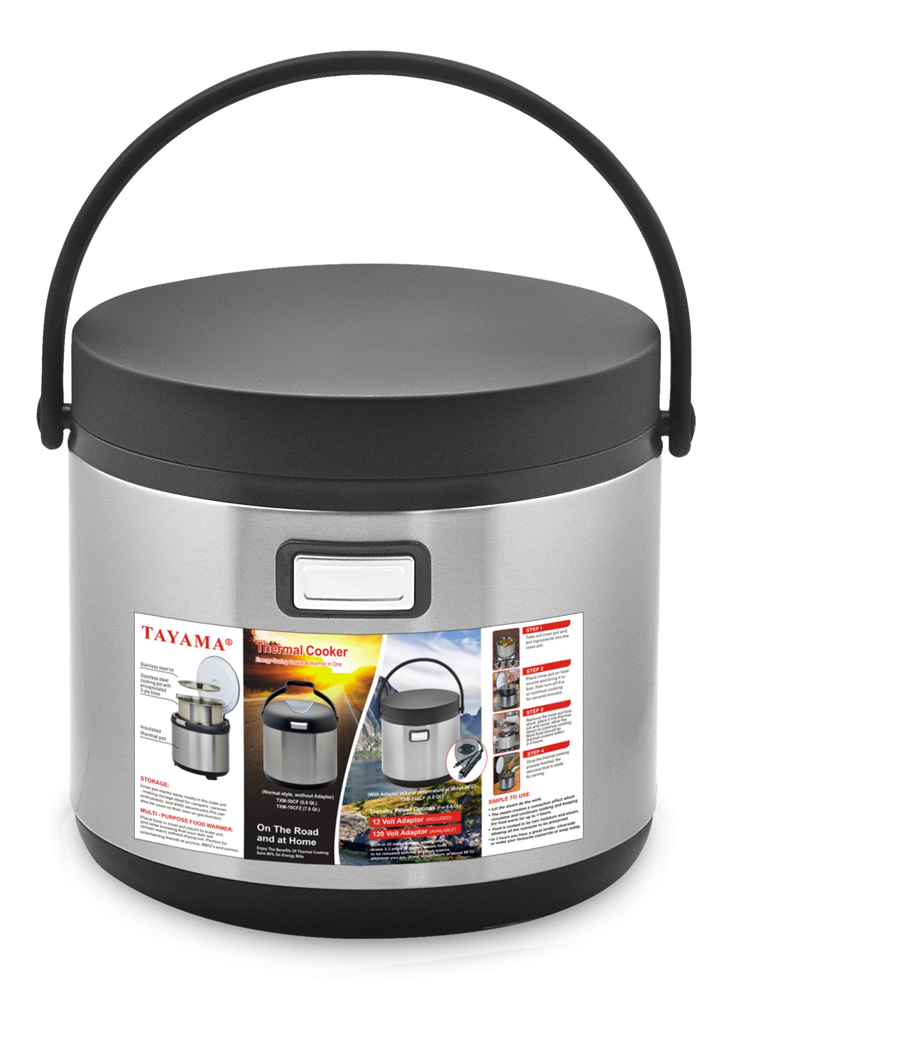 Tayama TXM-E60CF Thermal Cooker and Food Warmer in One, 6 Qt, Black