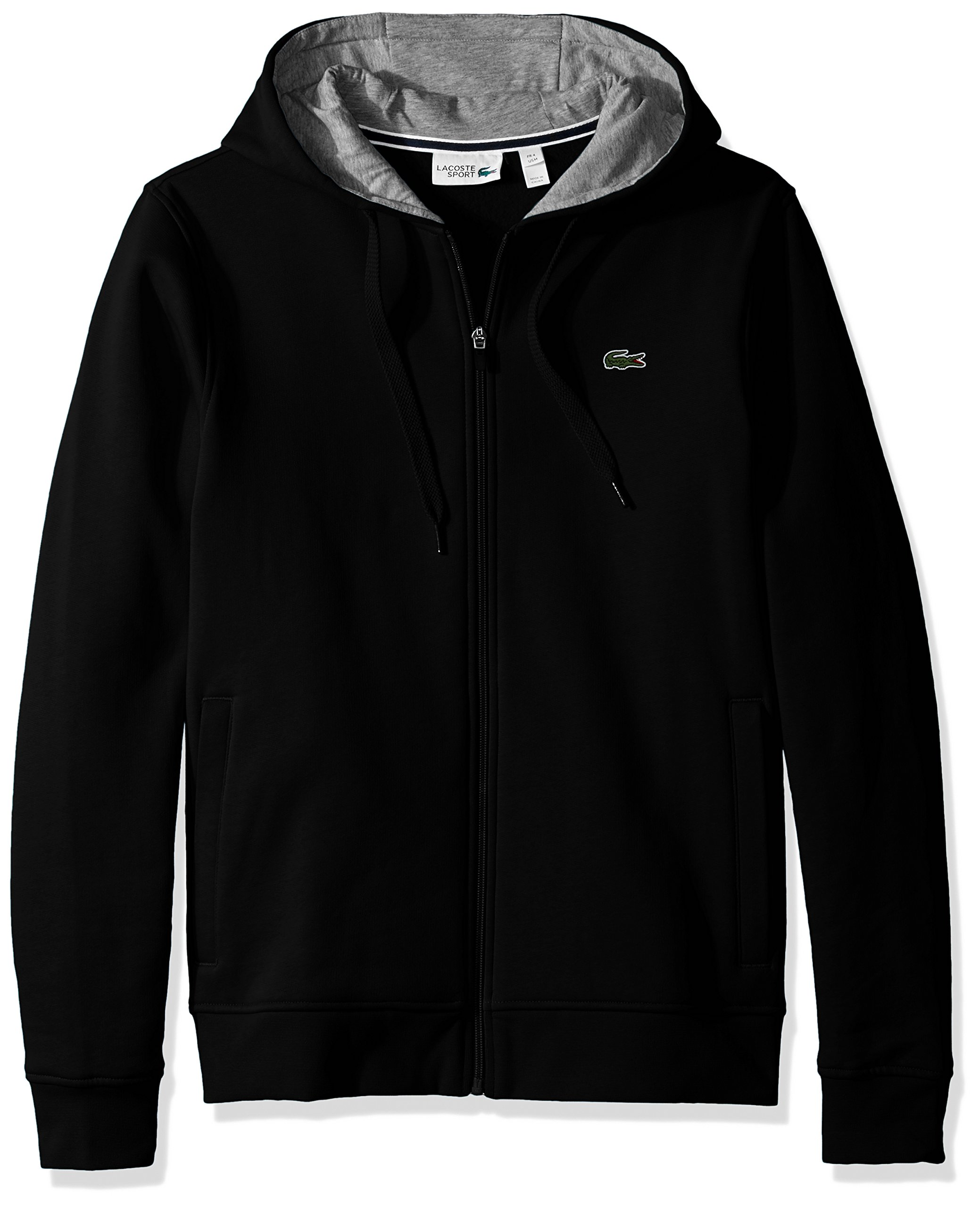 Lacoste Men's Full Zip Hoodie Fleece Sweatshirt, Black/Silver Chine, Medium