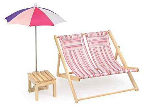 Beau Badger Basket Double Beach Chair With Table And Umbrella Summer Stripes  (fits American Girl