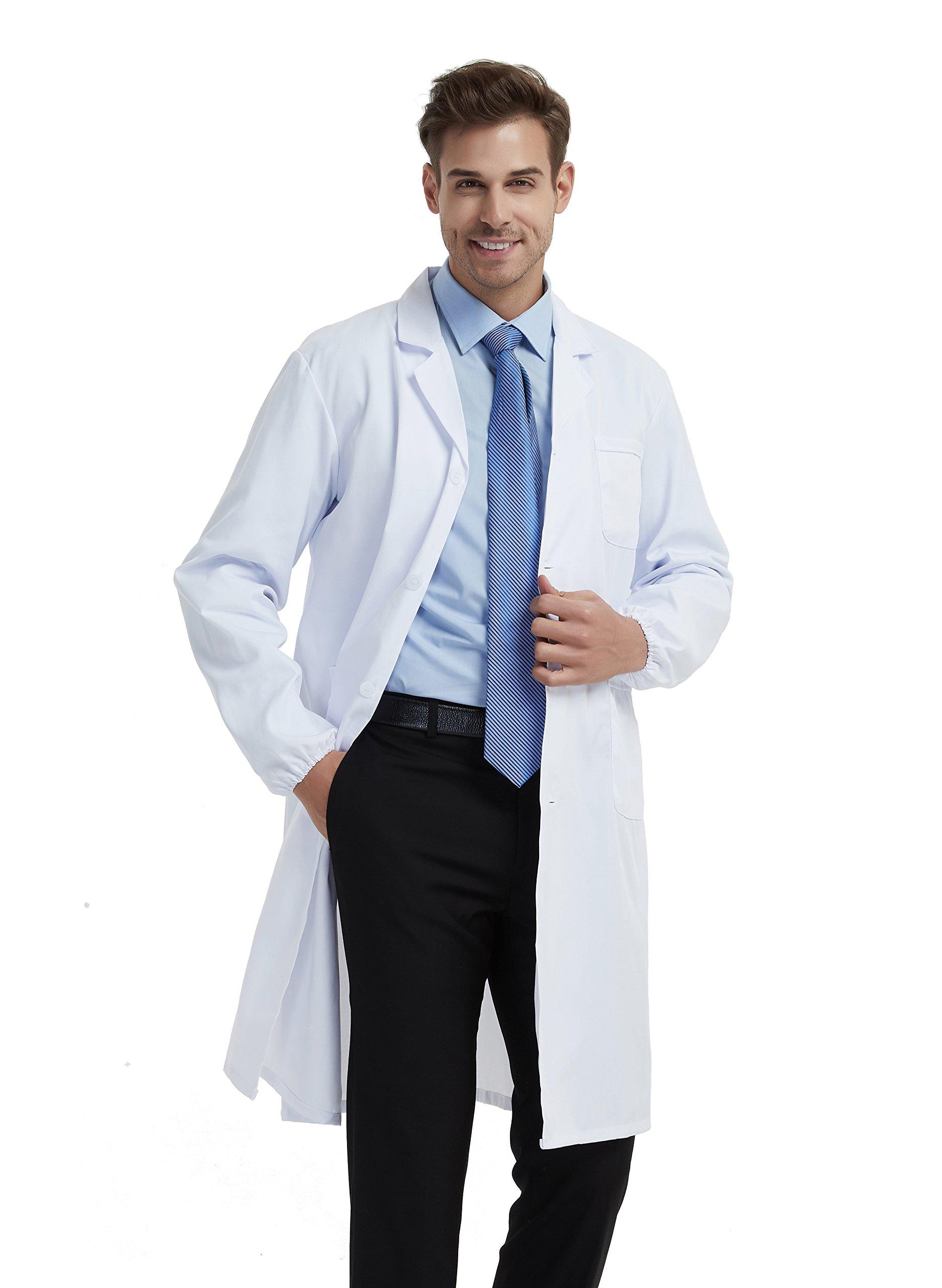 BSTT Men Lab Coat White Medical Uniforms Scrubs 2018 New Improvement Elastic Sleeves Thin S