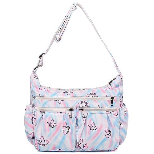 5d27aa25f12c9 Crossbody Bags for Women, Multi Pocket Shoulder Bag Waterproof Nylon Travel  Purses and Handbags (