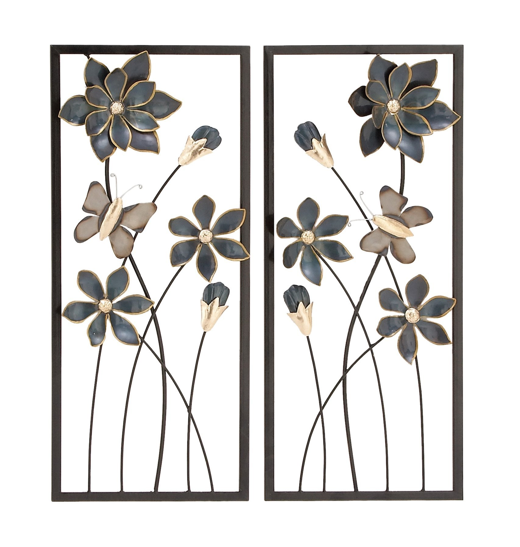Deco 79 53361 Metal Wall Decor (Set of 2), 12'' x 28'', Blue/Silver/Gold/Black