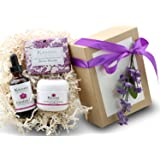 Lavender Organic Handmade Bath and Body Set - by KEOMI NATURALS - Pamper Them with All Natural Luxury - Scented with…