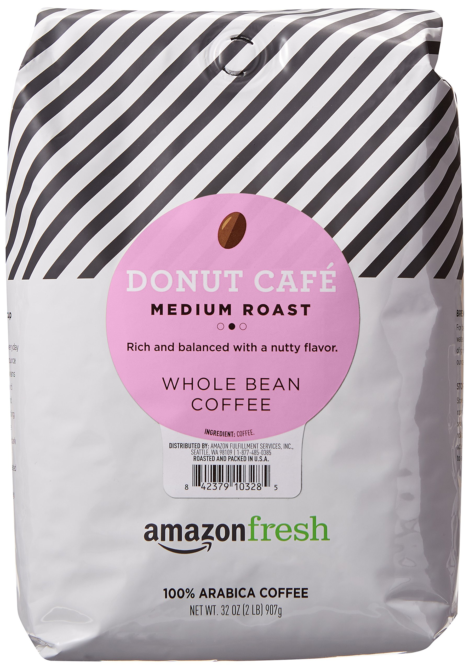 AmazonFresh Donut Cafe Whole Bean Coffee, Medium Roast, 32 Ounce