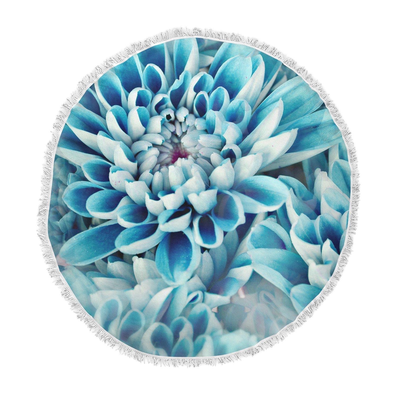 Kess InHouse Susan Sanders Floral Paradise Blue Flower Round Beach Towel Blanket