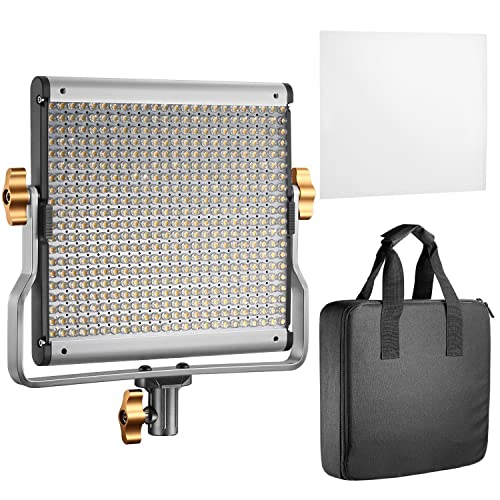 Neewer Dimmable Bi-color LED with U Bracket Professional Video Light for Studio, YouTube Outdoor Video Photography Lighting Kit, Durable Metal Frame, 480 LED Beads, 3200-5600K, CRI 96+(UK Plug)