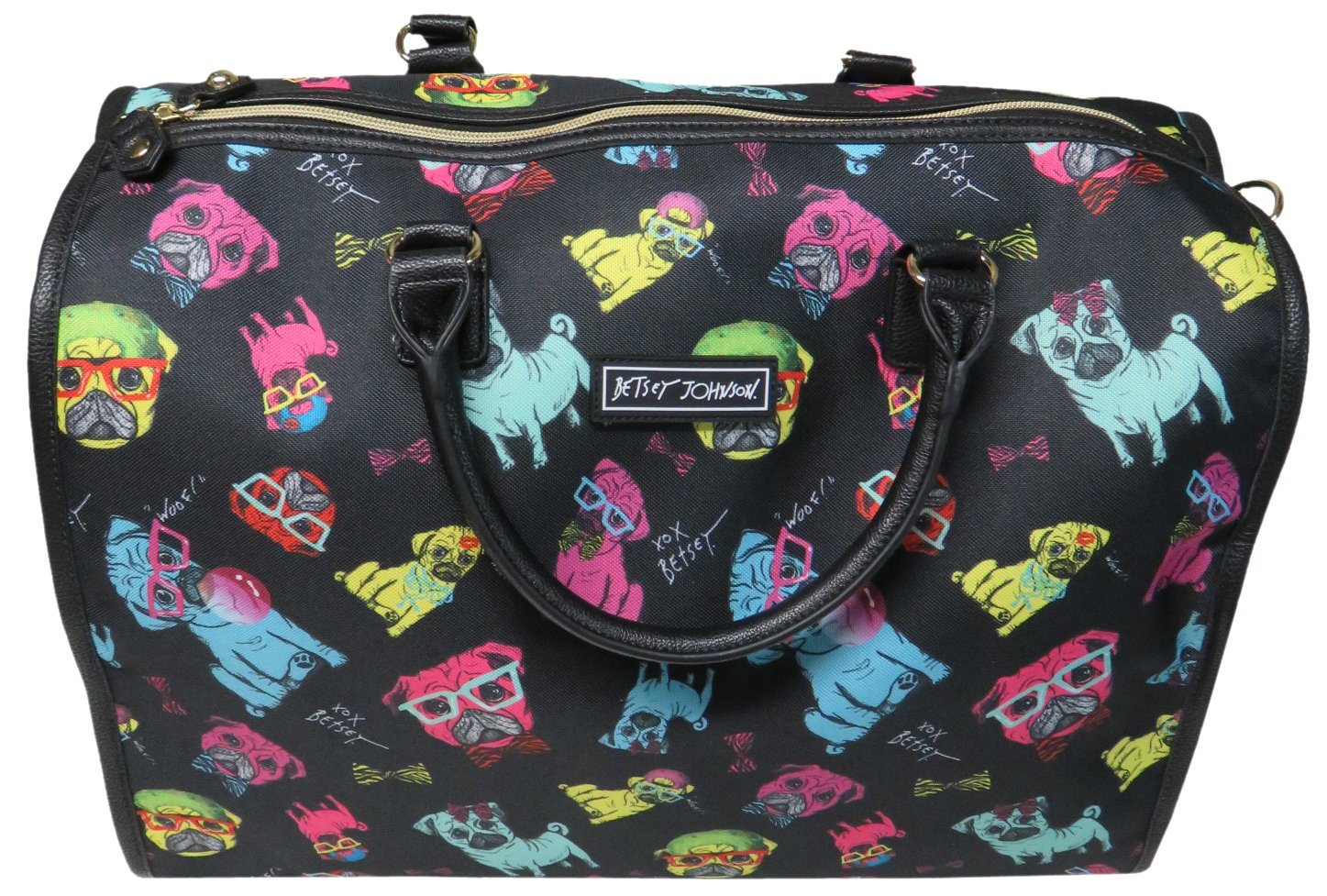 Betsey Johnson Nylon Pug Print Carry On Weekender Travel Duffel Bag - Black Multi