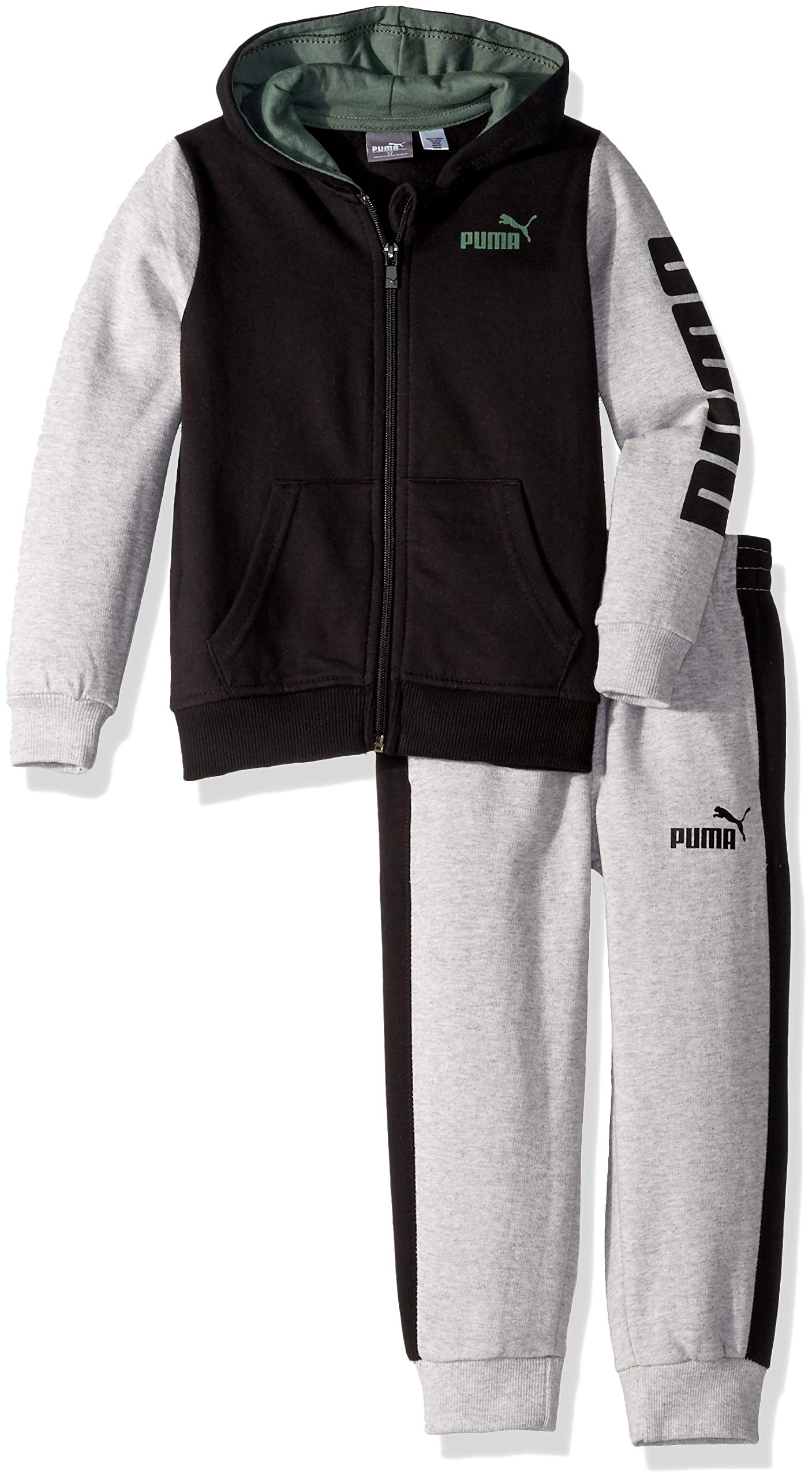 PUMA Toddler Boys' Fleece Zip Up Hoodie Set, Black, 2T by PUMA