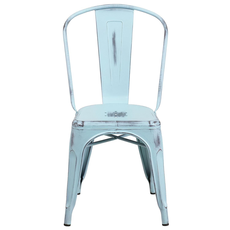 Amazon Flash Furniture Distressed Green Blue Metal Indoor
