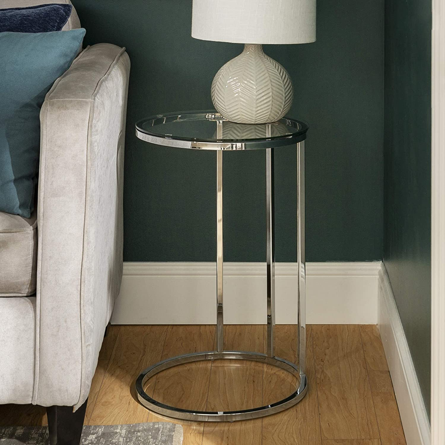 WE Furniture Modern Round Side End Accent Table Living Room, 16 Inch, Glass, silver