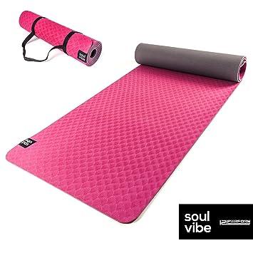 Esterilla de yoga de TPE delgada de 6 mm. Estera antideslizante de buen agarre. Ecológica, adecuado para fitness o pilates, correas para llevar ...
