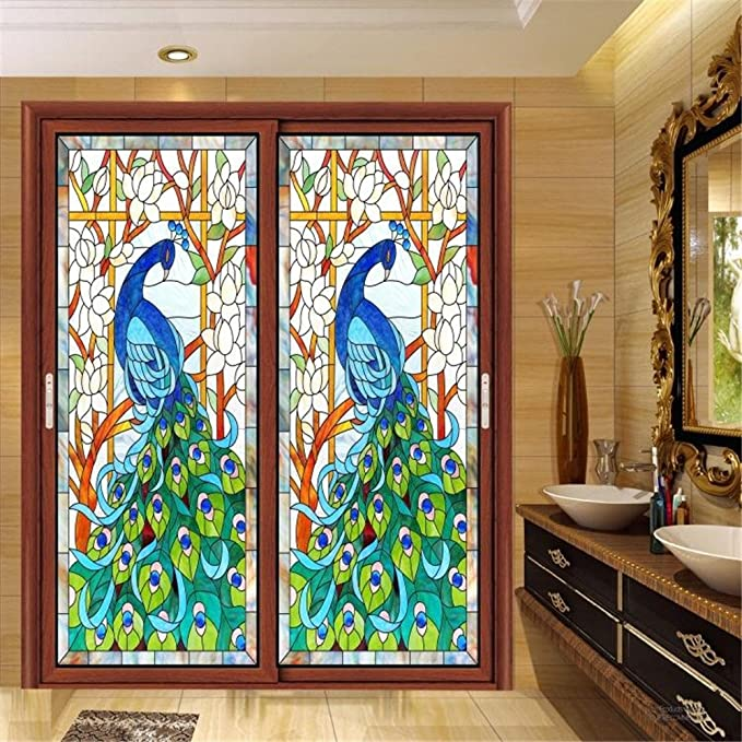 Amazon OstepDecor Custom Peacock Translucent Non Adhesive Frosted Stained Glass Window Films 12 W X 24 H One Panel Home Kitchen