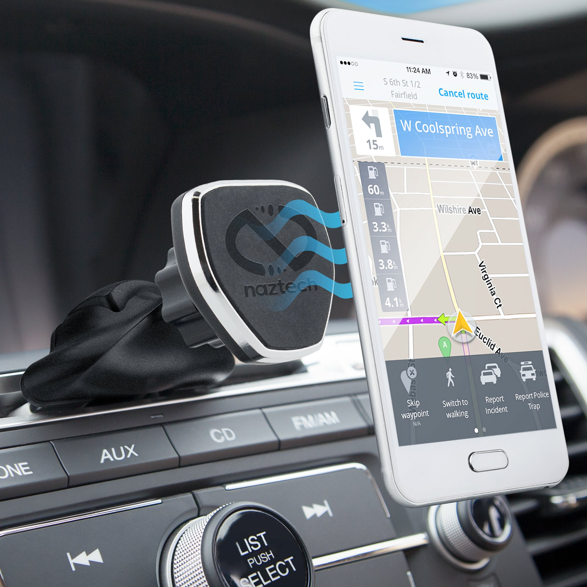 Naztech MagBuddy Universal Magnetic CD Slot, Car Phone Mount. Fully Adjustable Holder For Hands-free Phone Calls and GPS Use, For iPhone X/8/8 Plus, Samsung S9/S9+/Note 8/Smartphones & More by Naztech