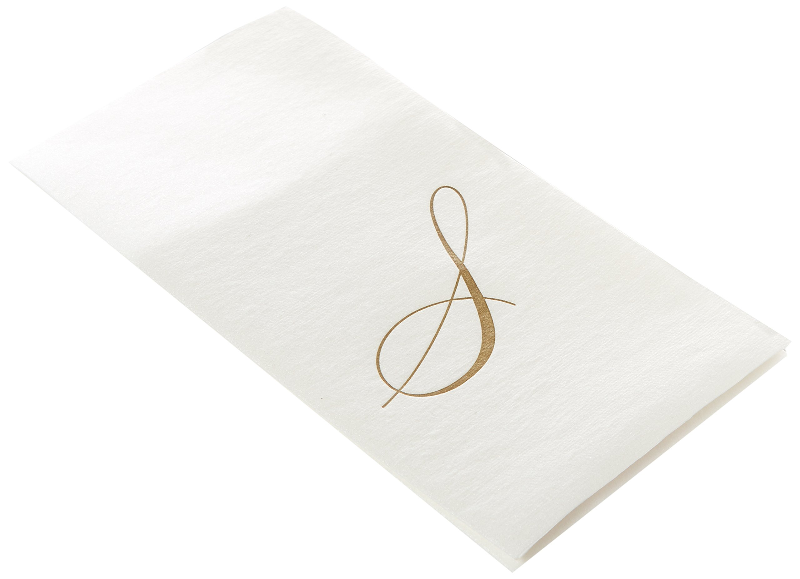 Entertaining with Caspari White Pearl Paper Linen Guest Towels, Monogram Initial S, Pack of 24