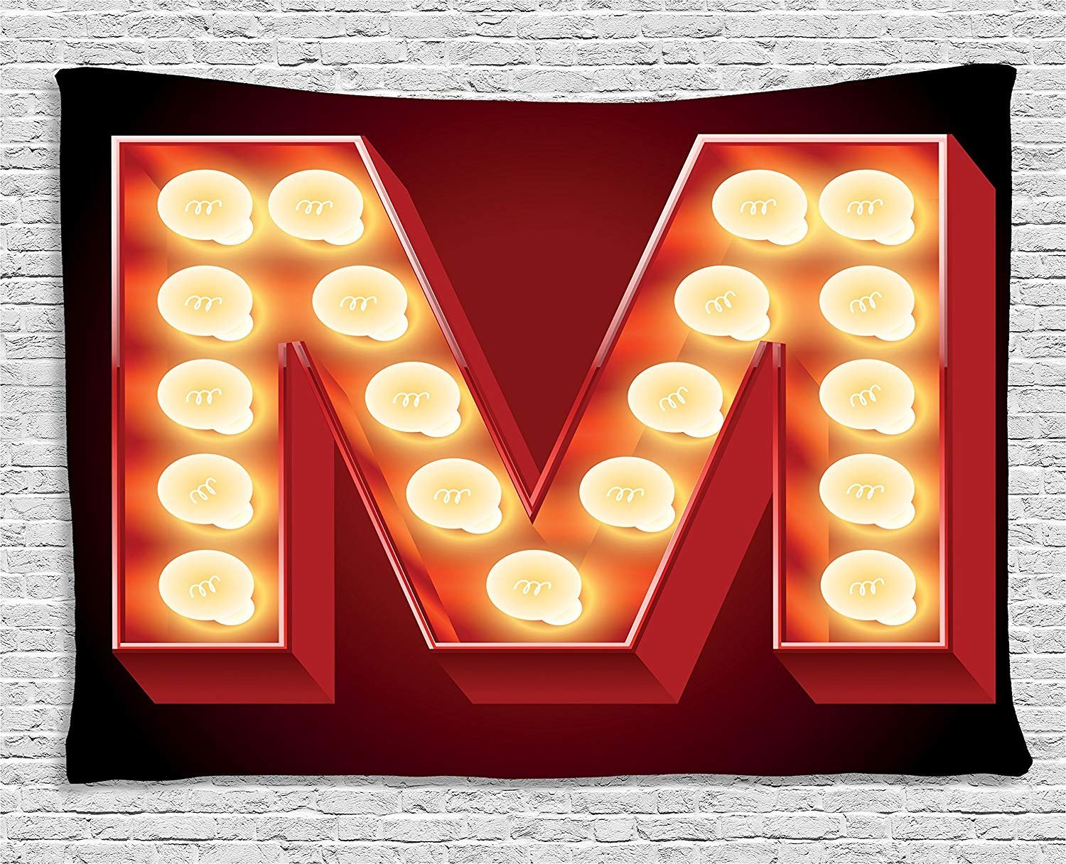 XHFITCLtd Letter M Tapestry, Vintage Alphabet Collection of Old Movie Theaters Casinos Retro Type, Wall Hanging for Bedroom Living Room Dorm, 80 W X 60 L Inches, Vermilion Yellow Black