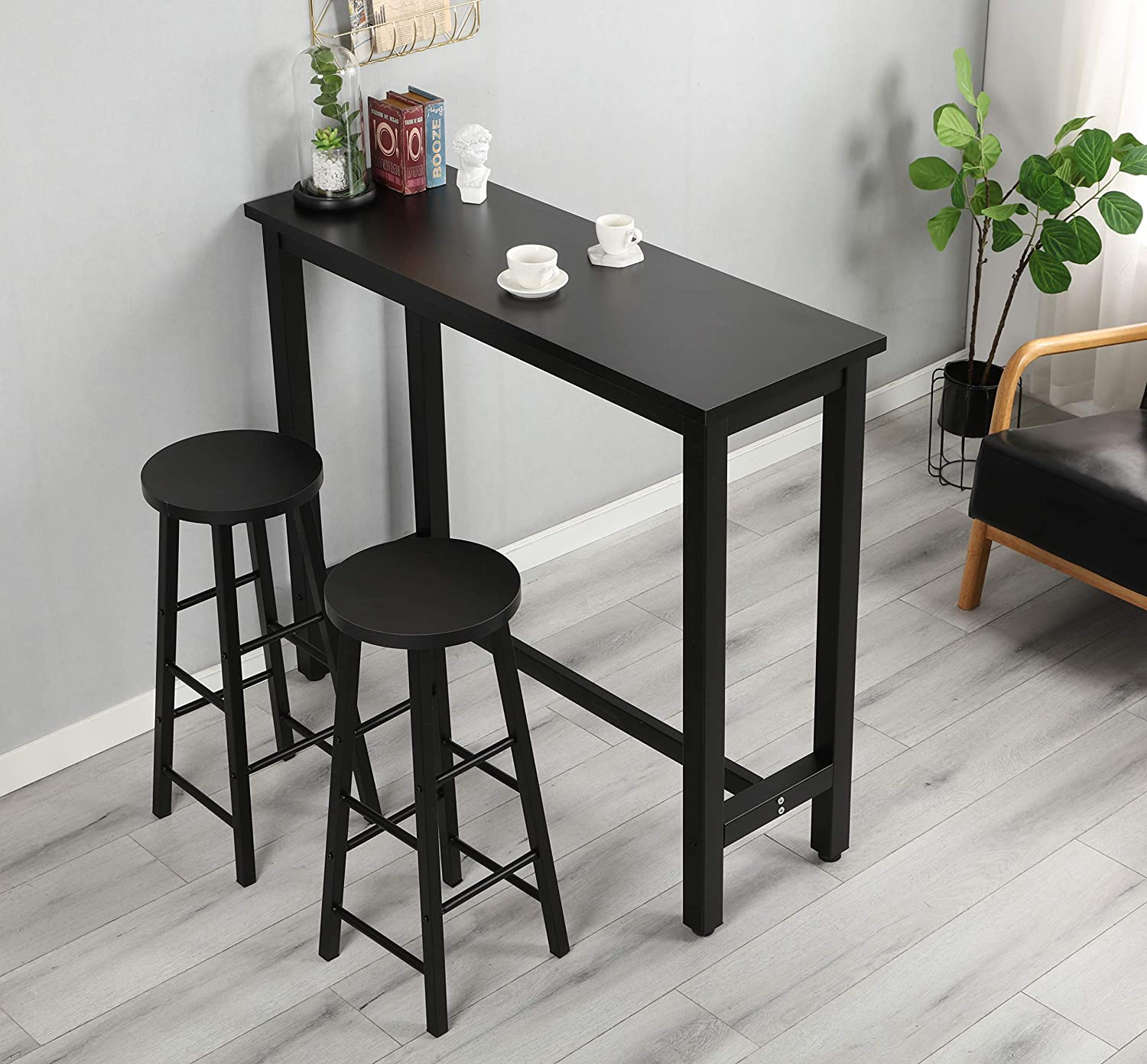 Flashtk 3 Piece Pub Table Set Counter Height Dining Table Set With 2 Bar Stools For Kitchen Breakfast Nook Dining Room Living Room Small Space Black Amazon Co Uk Kitchen Home