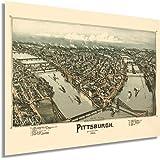 HISTORIX Vintage 1902 Pittsburgh Pennsylvania Map Poster - 18x24 Inch Vintage Pittsburgh Map Art - Panoramic Bird's Eye View