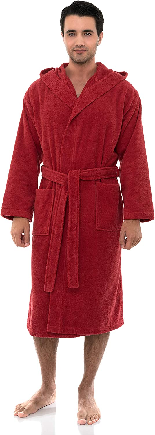 TowelSelections Mens Turkish Cotton Hooded Terry Velour Bathrobe Made in Turkey