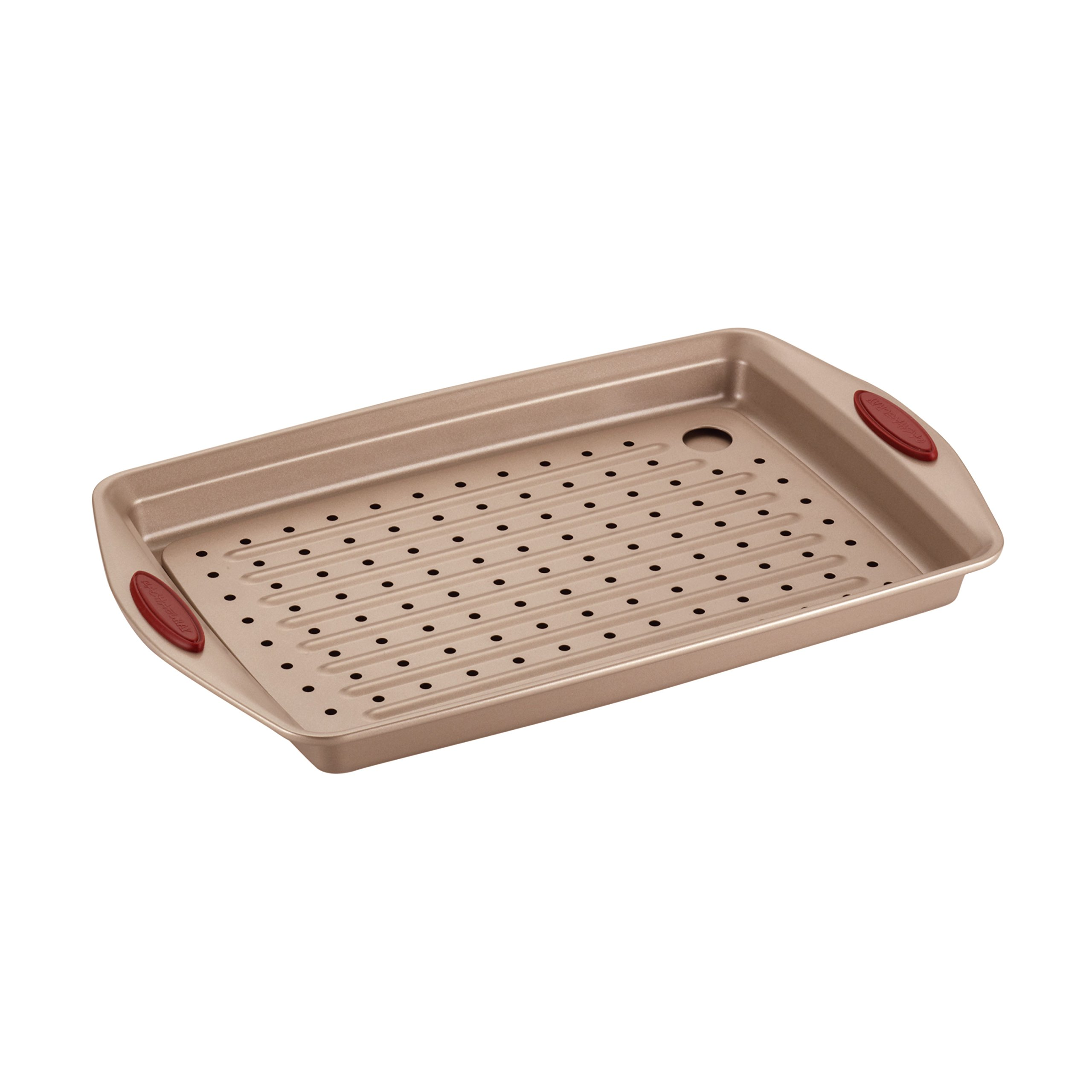 Rachael Ray 2 Piece Cucina Nonstick Bakeware Crisper Pan Set, Latte Brown with Cranberry Red Handle Grips