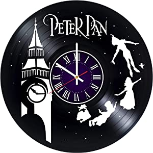 Peter Pan Disney Vinyl Record Wall Clock - Room Wall Decor - Art Gift Modern Home Record Vintage Decoration Gift for Him and Her - Gift for Fan Gifts for Boys Man Girls w