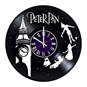Identica Store Peter Pan Disney Vinyl Record Wall Clock - Room Wall Decor - Art Gift Modern Home Record Vintage Decoration Gift for Him and Her - Gift for Fan Gifts for Boys Man Girls w
