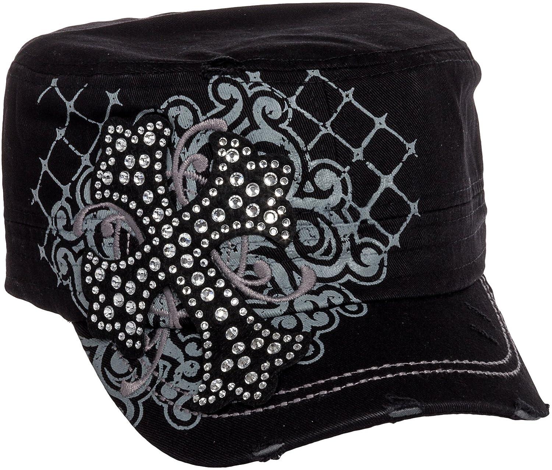 Crystal Case Womens Cotton Rhinestone Cross Cadet Cap Hat (Black)