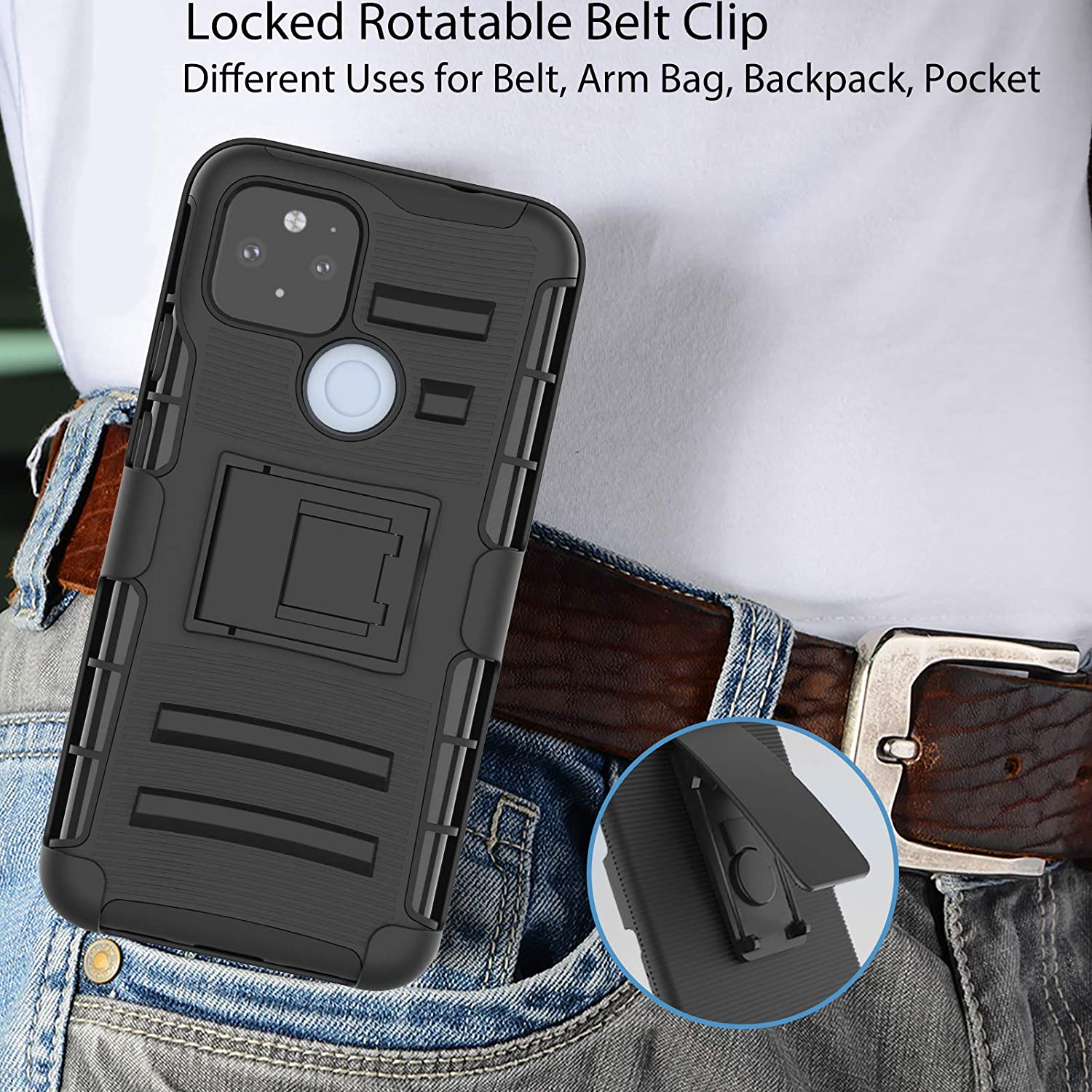 Black Kickstand Holder Heavy Duty Rugged Full Body Shockproof Armor Protective Pouch Cover for Google Pixel 5 Google Pixel5 Belt Clip Holster Ailiber Google Pixel 5 Case with Screen Protector