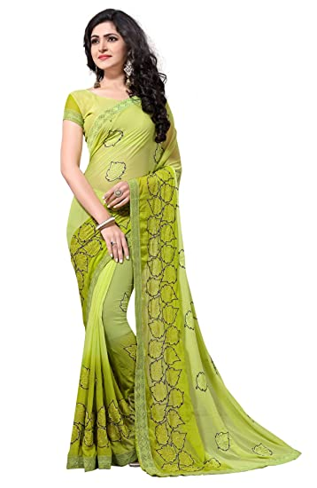e59672b3f1f Culture Fab Women Georgette Heavy Latest Designer Embroidery Party Wear  Party Wear Fancy Saree SareeWith Blouse Piece (Green)  Amazon.in  Clothing    ...