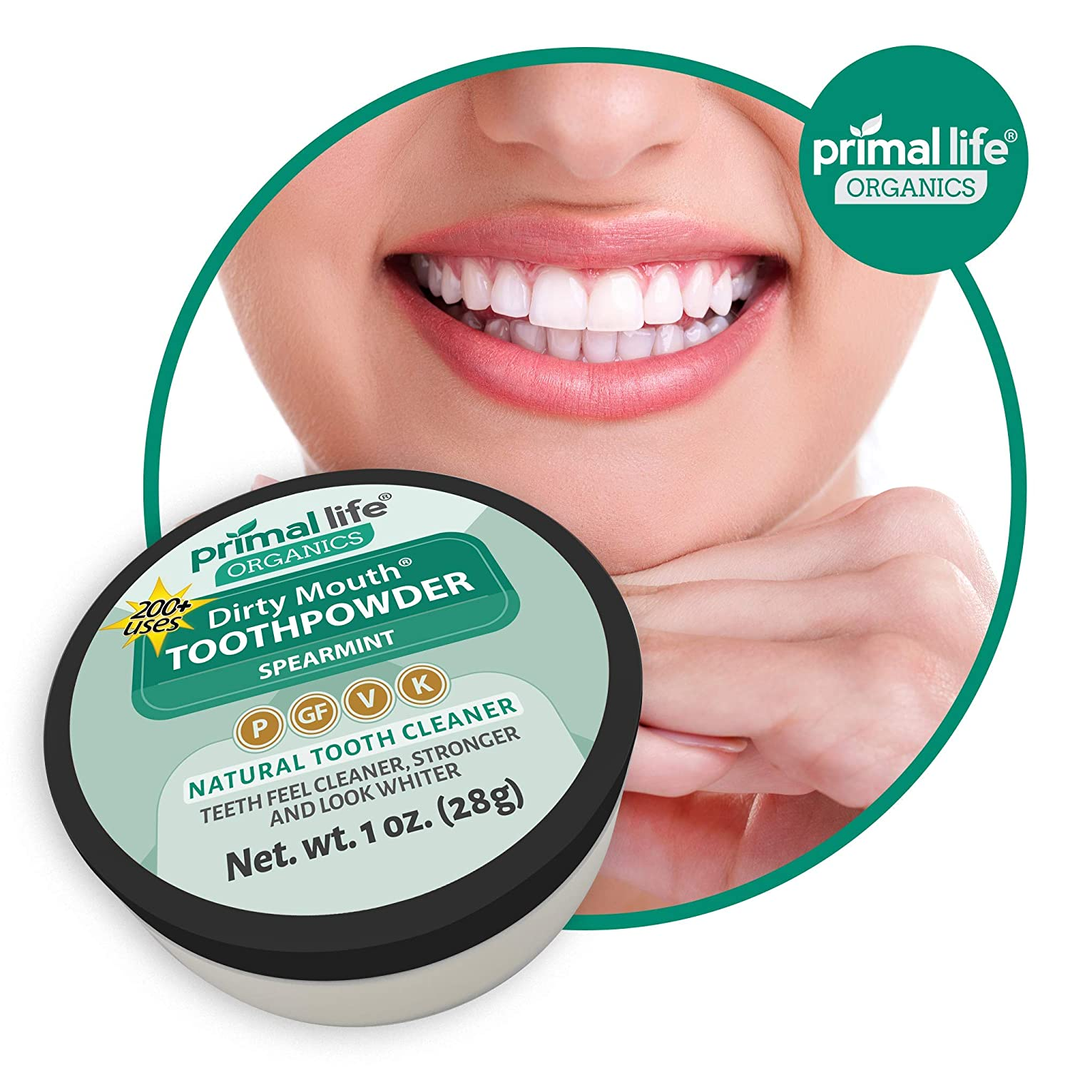 Primal Life Organics | Dirty Mouth Organic Tooth Powder | Gently Polishes,  Whitens,