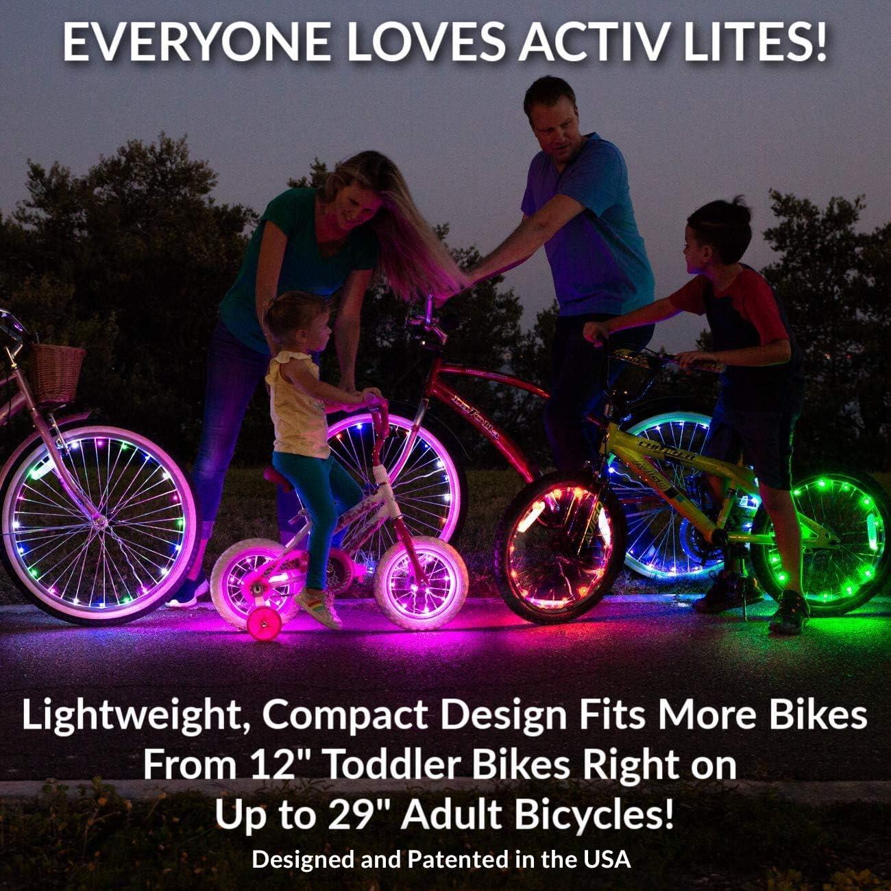 Conjunto para 2 Ruedas Obt/én un 100/% de Brillo y Visibilidad Desde Todos los /Ángulos para una M/áxima Seguridad y Estilo Activ Life Luces LED para Ruedas de Bicicletas Bater/ías Incluidas
