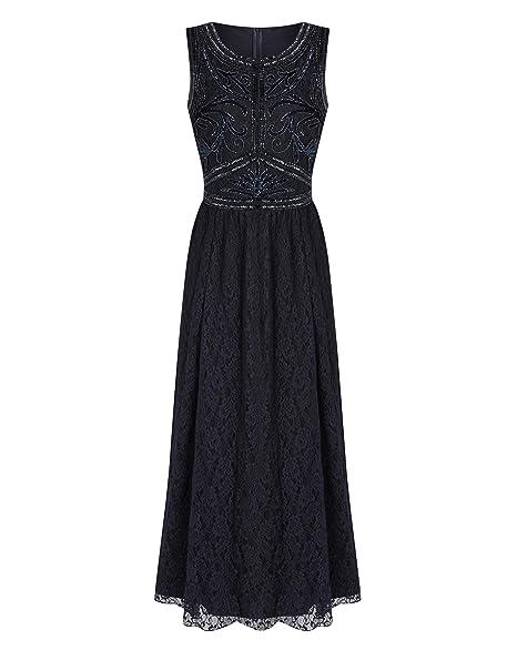 66c0ffbac8 JD Williams Womens Joanna Hope Lace Bead-Trim Maxi Dress: Amazon.co.uk:  Clothing