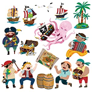 DECOWALL DS-8010 Pirates & Treasure Island Kids Wall Stickers Wall Decals Peel and Stick Removable Wall Stickers for Kids Nursery Bedroom Living Room (Small)