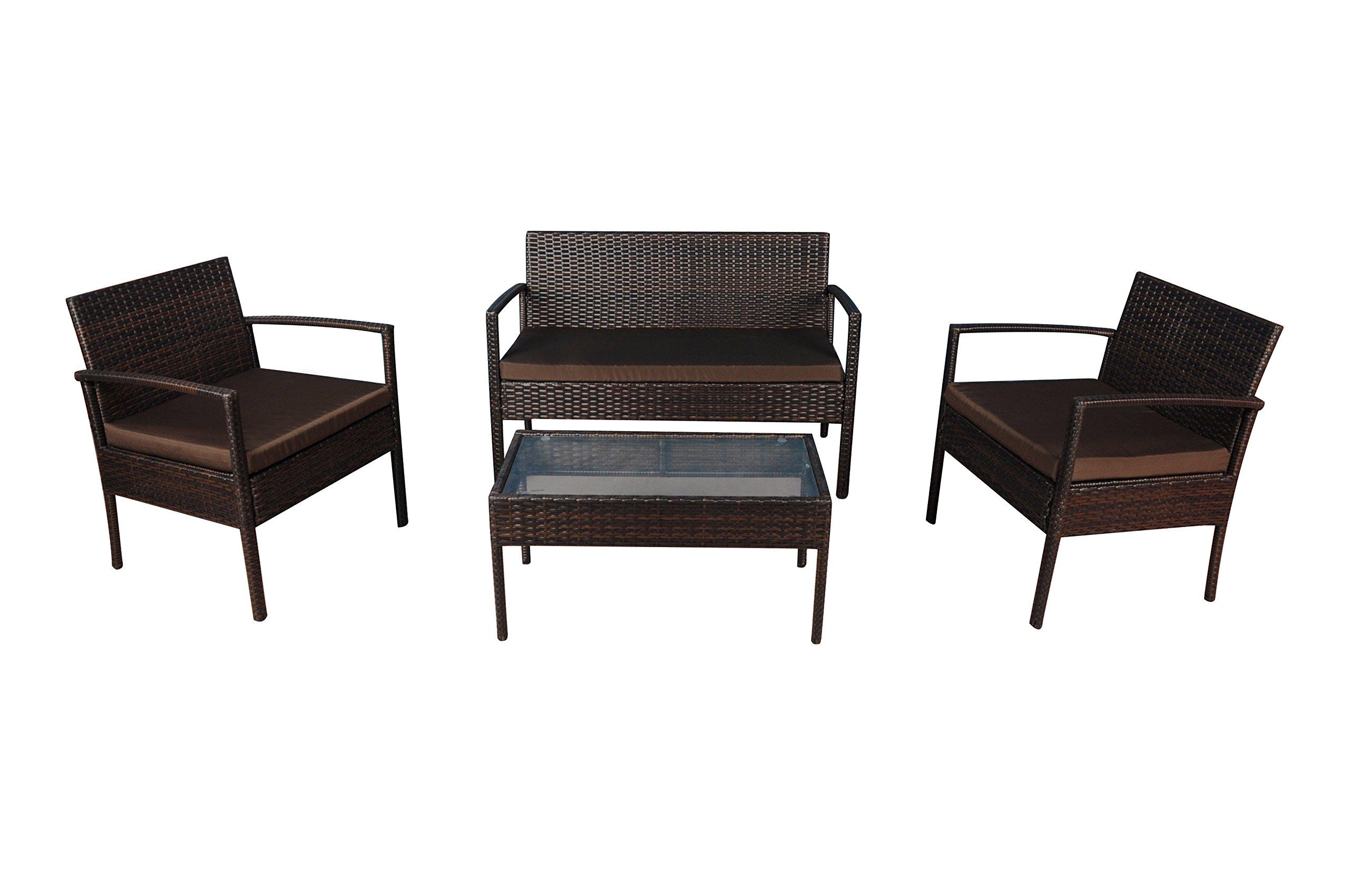 Modern Outdoor Garden, Patio 4 Piece Set - Wicker Sofa Furniture Set (Brown / Brown)