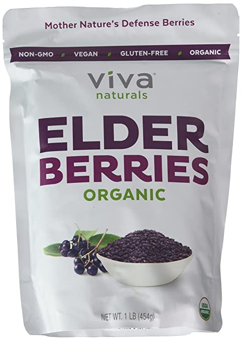 Viva Naturals Organic Elderberries, 1 lb Bag - The ULTIMATE Superfruit for Defense Syrups and Longevity Teas