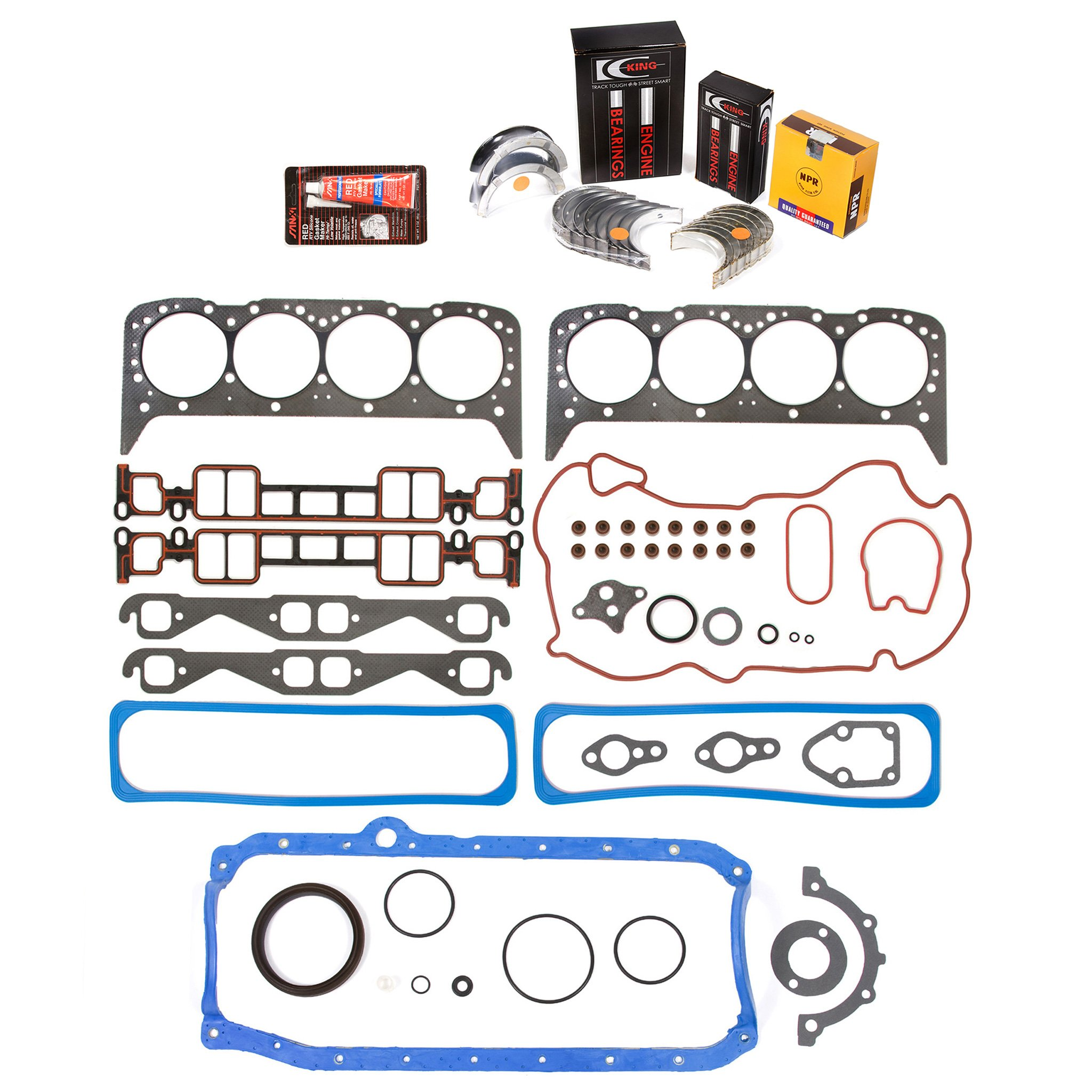 Evergreen Engine Rering Kit FSBRR8-10116 96-02 Cadillac Chevrolet GMC VORTEC 5.7 OHV VIN R Full Gasket Set, 0.25mm / 0.010'' Oversize Main Rod Bearings, 0.50mm / 0.020'' Oversize Piston Rings by Evergreen Parts And Components