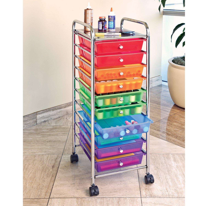 Seville Classics 10-Drawer Organizer Cart, Multi Color by Seville Classics (Image #2)