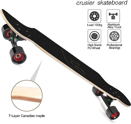 LOSENKA 42 Inch Longboard Skateboard Complete Cruiser,The Original Maple Skateboard Cruiser for Cruising Carving Free-Style and Downhill
