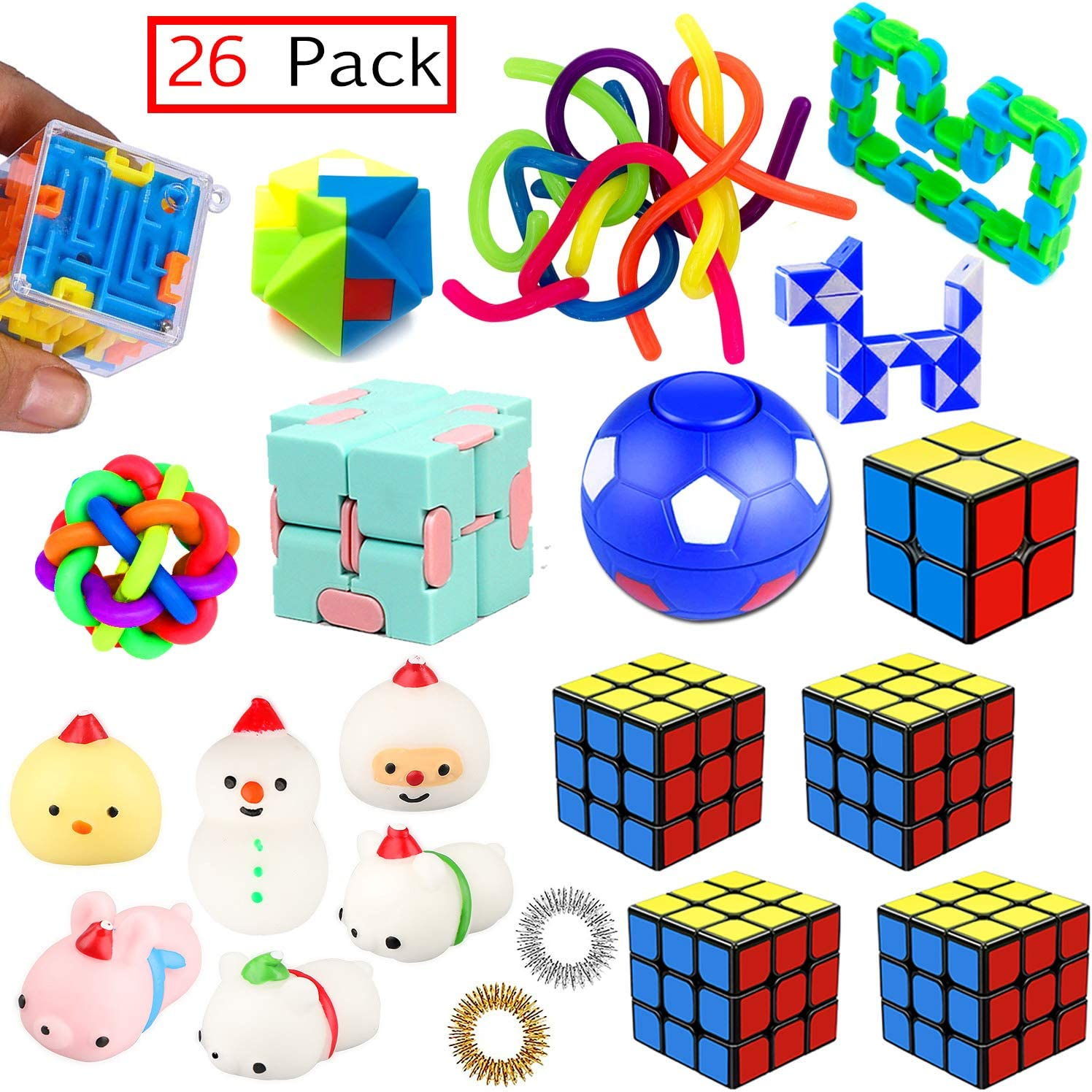 PP PHIMOTA Sensory Toys Set 26 Pack, Stress Relief Fidget Hand Toys for Adults and Kids, Sensory Fidget and Squeeze Widget for Relaxing Therapy - Perfect for ADHD Add Anxiety Autism