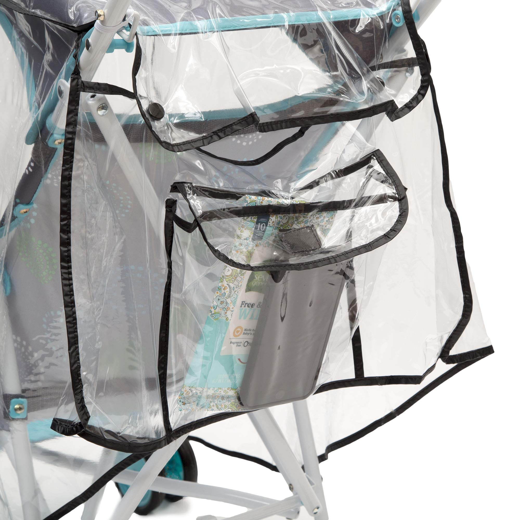 Delta Children Umbrella Stroller Rain Cover | Universal Size | Weather Shield Protects Your Baby from Rain, Wind, Snow, Sleet or Insects | Ventilated | Storage Pocket Included (Clear) by Delta Children (Image #7)