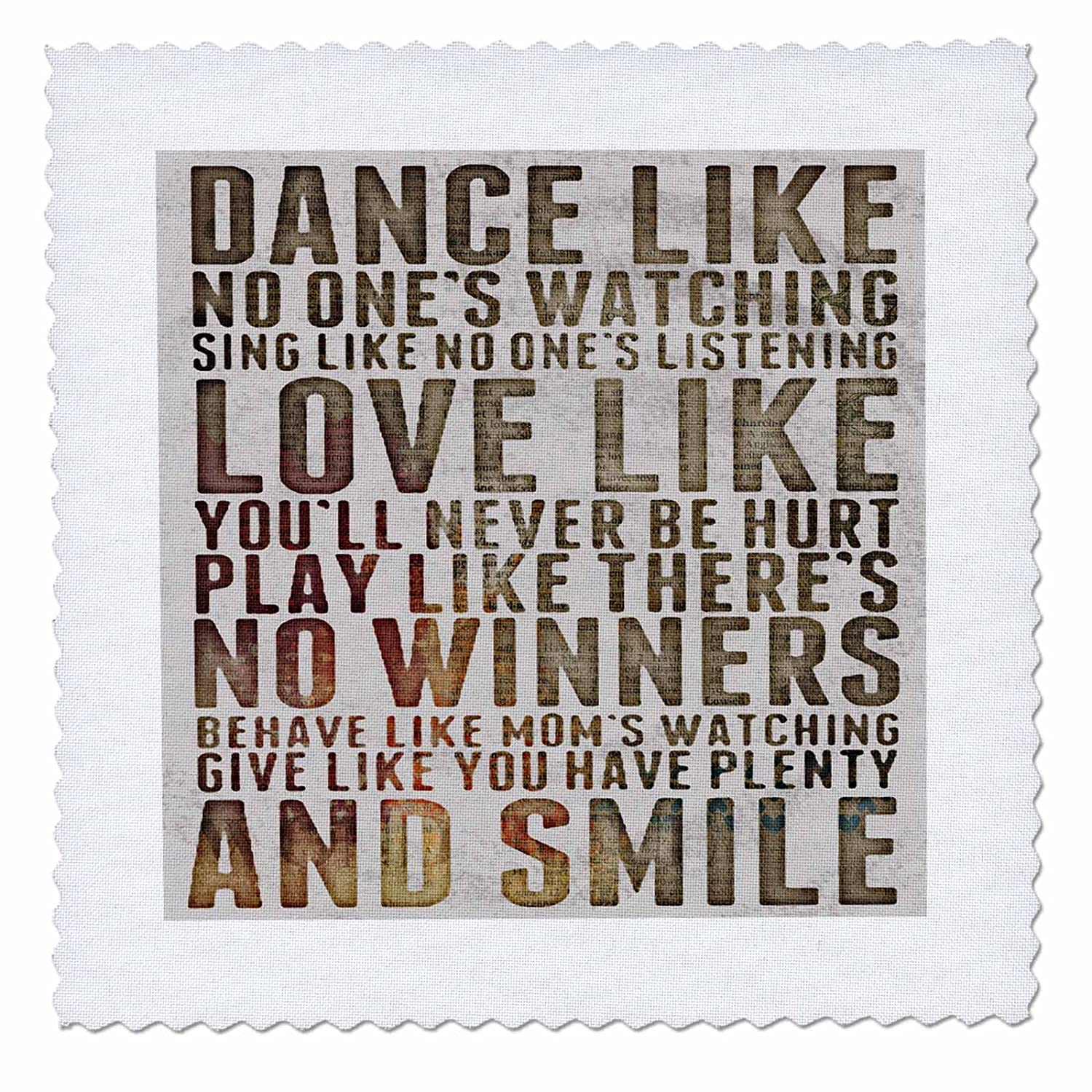3dRose Dance Like No Ones watching popular poem Quilt Square 8 by 8-inch qs/_245385/_3