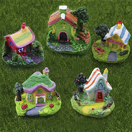 Simday - 5 Mini Figuras Decorativas de Resina para Decoración de Jardín, Diseño de casa de Dibujos Animados en Miniatura: Amazon.es: Hogar