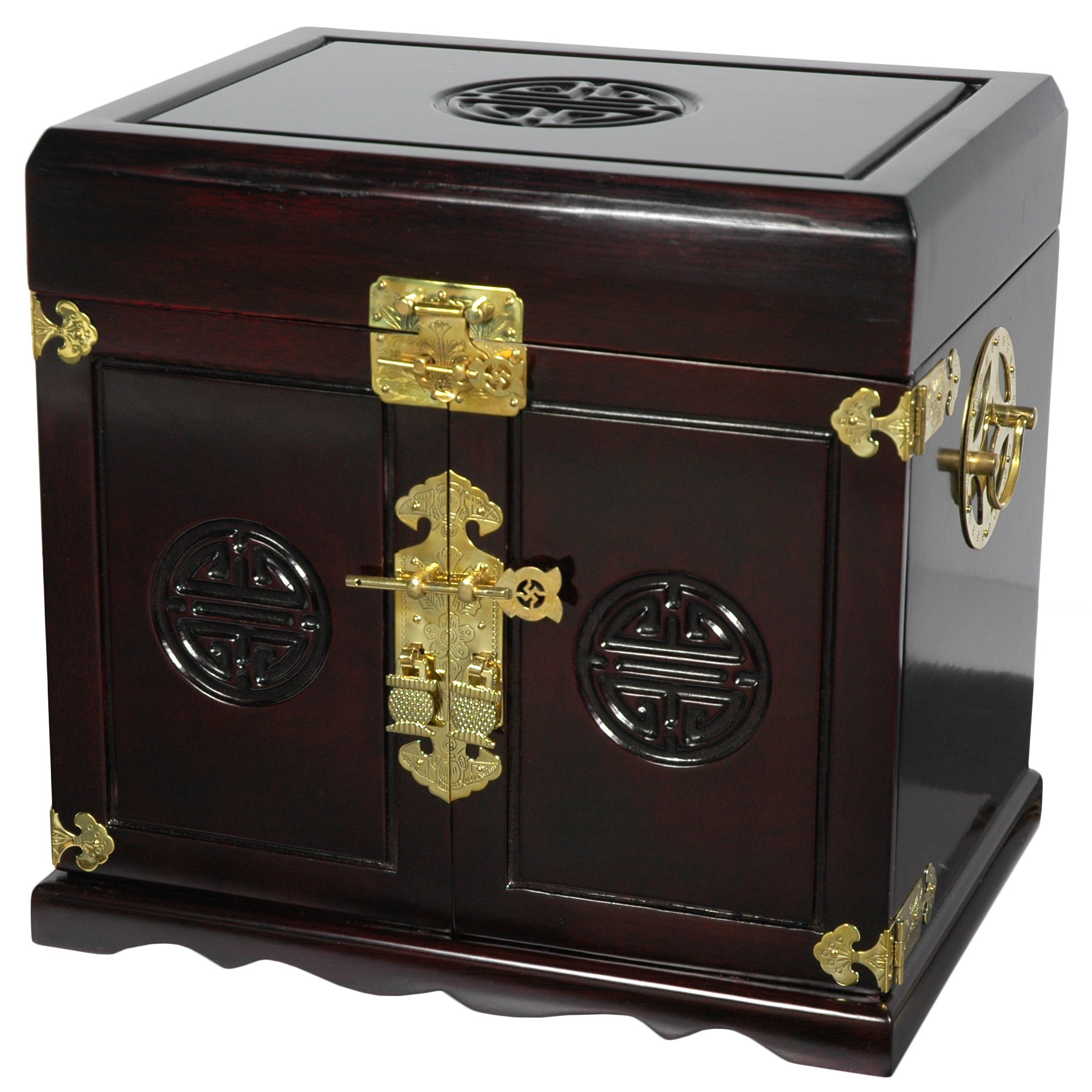 Oriental Furniture Rosewood Jewelry Cabinet with 5 Drawers - Dark Rosewood