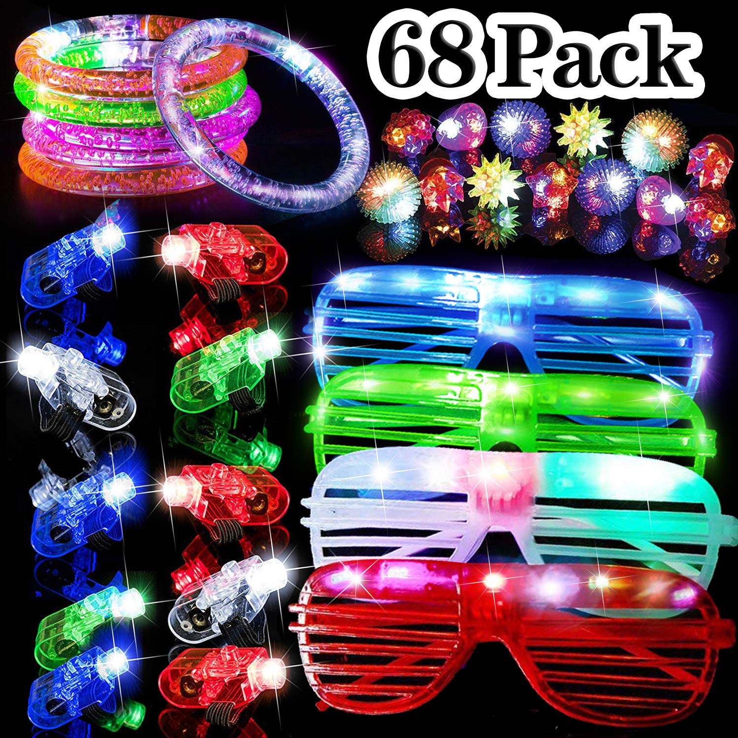 68 Pack LED Light Up Toys Halloween LED Glow Party Favors for Kids Glow in the Dark Party Supplies 4 Flashing Slotted Shades Glasses 10 Glow Rings 50 LED Finger Lights 5 LED Bracelets Christmas Gift by Godlike (Image #1)