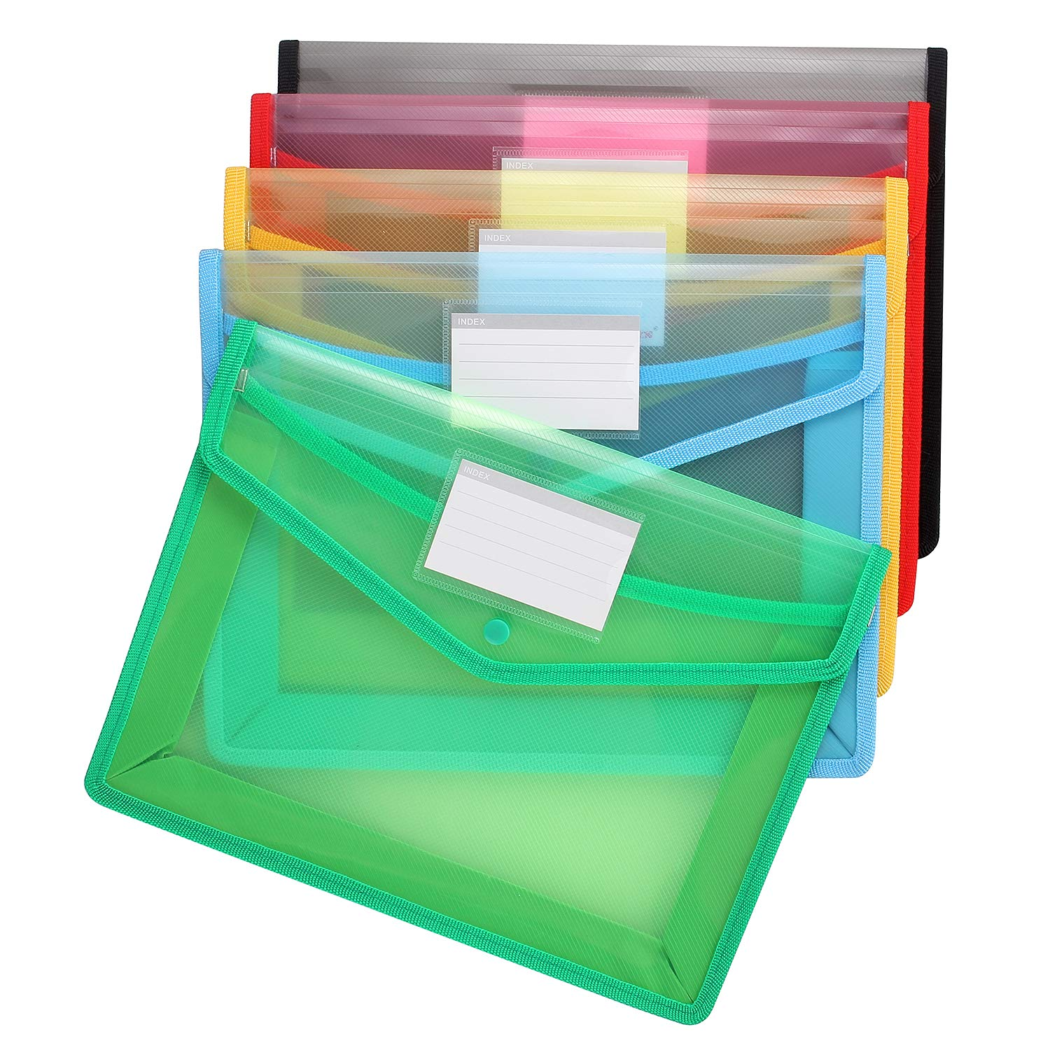 A4 Document Folder, Acrux7 Plastic Wallet with Pocket, 5 Pack A4 Envelope Folder with Snap Button, Waterproof Transparent File Folders, 5 Assorted Colors- Blue, Green, Black, Red, Yellow