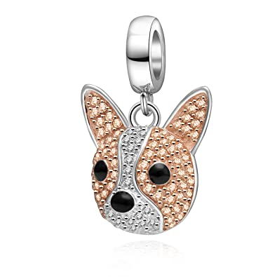 a42d978f5 Image Unavailable. Image not available for. Color: Rose Gold Dog Head Charms  925 Sterling Silver Dog Paw Print ...