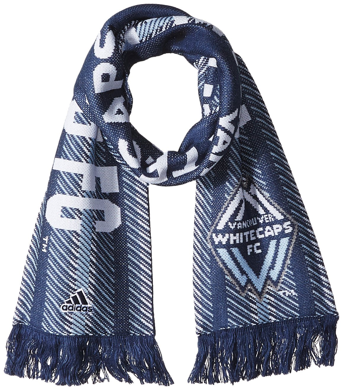 adidas MLS Vancouver Whitecaps Jacquard Scarf with Block Name, One Size, Navy