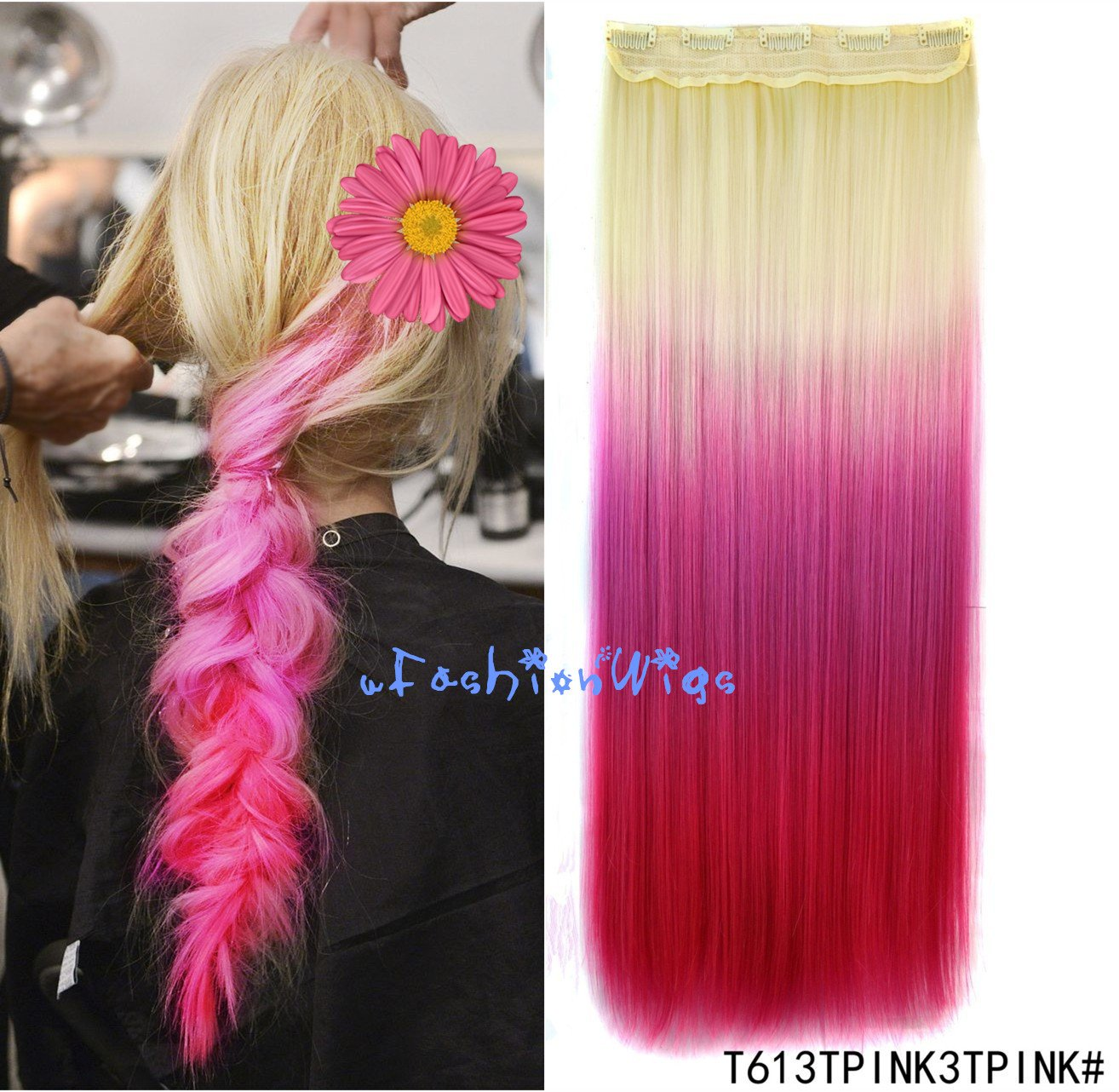 Amazon.com : White Blonde to Green Three Colors Ombre Hair ...