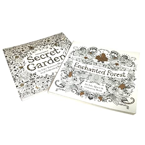 2 Pack Enchanted Forest And Secret Garden An Inky Treasure Hunt Coloring Book
