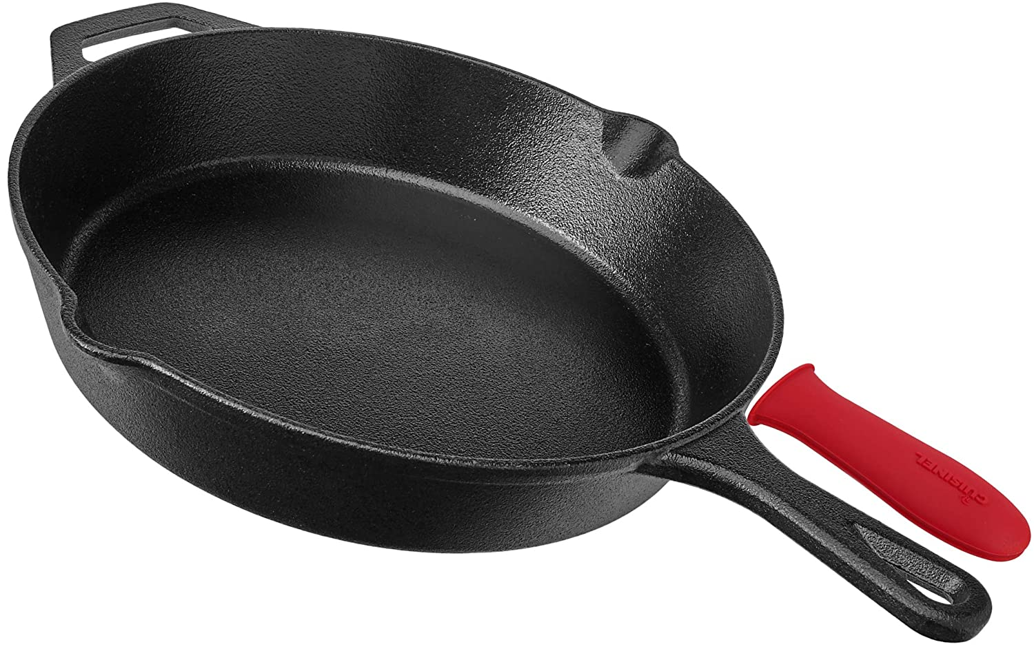 Pre Seasoned Cast Iron Skillet 12 Inch W Handle Cover Oven Safe Cookware Heat Resistant Holder Indoor And Outdoor Use Grill Stovetop